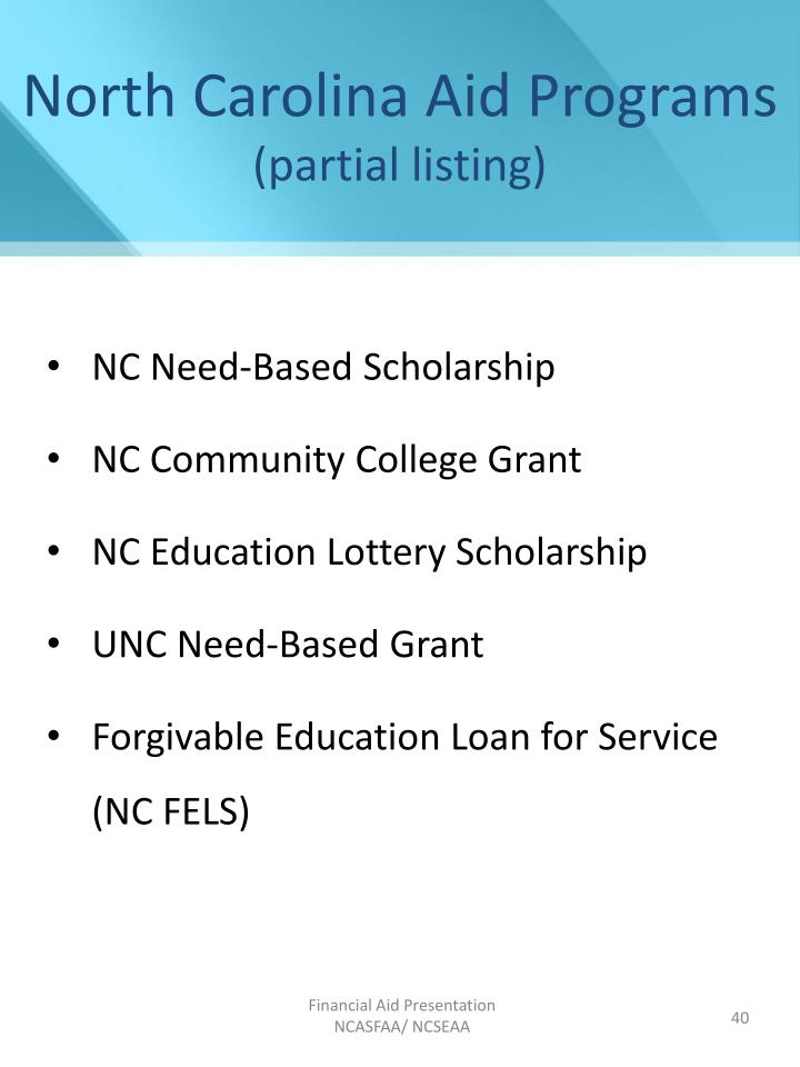 North Carolina Aid Programs
