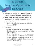 tax credits american opportunity tax credit