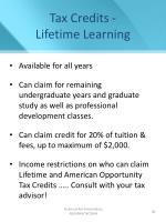 tax credits lifetime learning