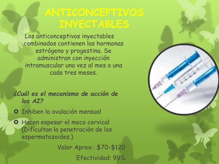 Los anticonceptivos inyectables combinados contienen las hormonas estrógeno y progestina. Se administran con inyección intramuscular una vez al mes o una cada tres meses.