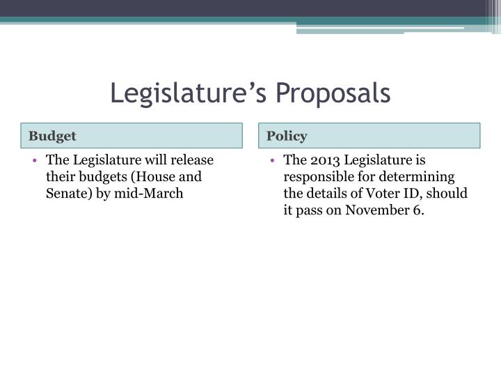 Legislature's Proposals