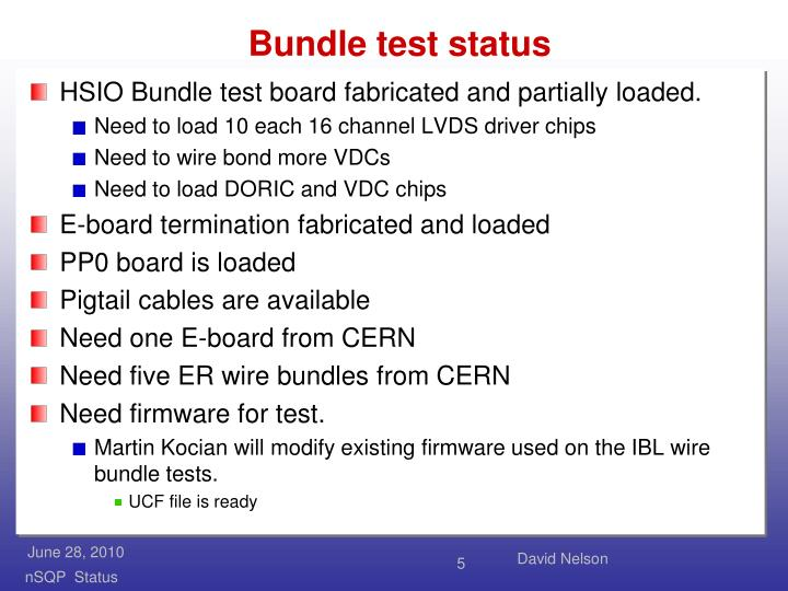 Bundle test status