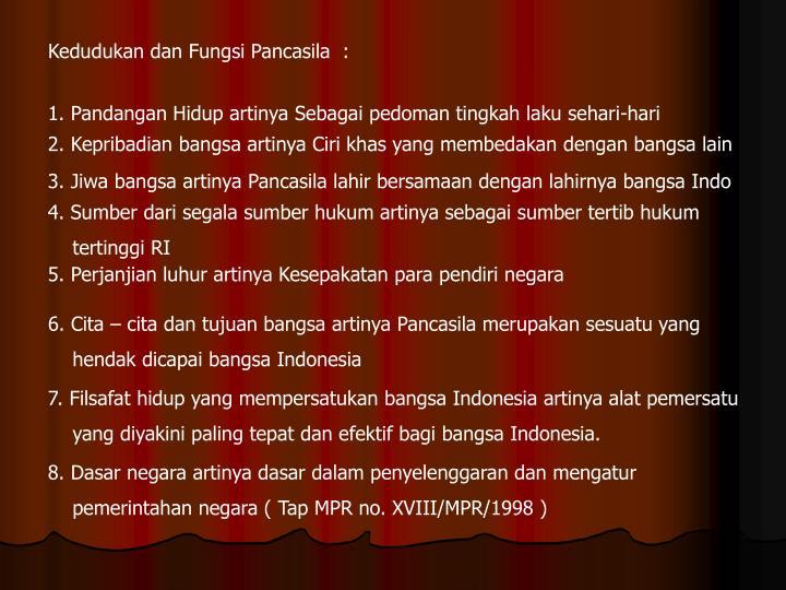 Kedudukan dan Fungsi Pancasila  :