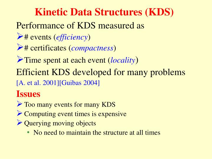 Kinetic Data Structures (KDS)