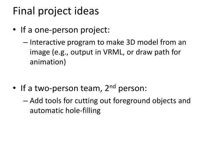 Final project ideas