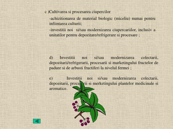 d) Investitii noi si/sau modernizarea colectarii, depozitarii/refrigerarii, procesarii si marketingului fructelor de padure si de arbusti fructiferi la nivelul fermei;