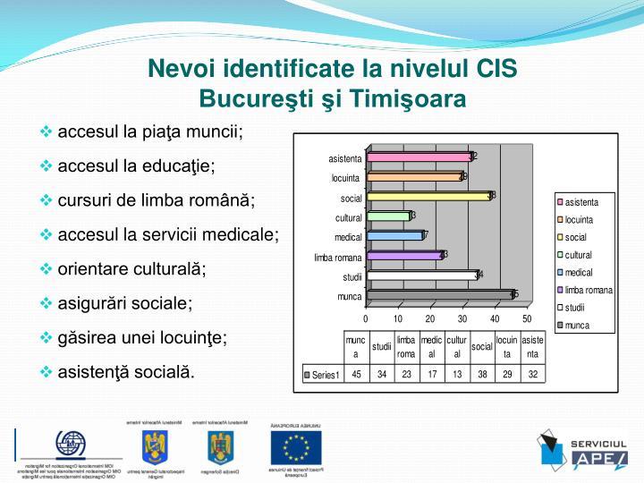 Nevoi identificate la nivelul CIS
