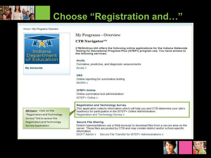"Choose ""Registration and…"""