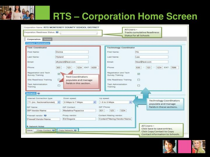 RTS – Corporation Home Screen