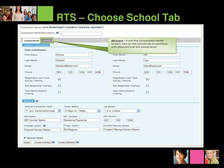 RTS – Choose School Tab