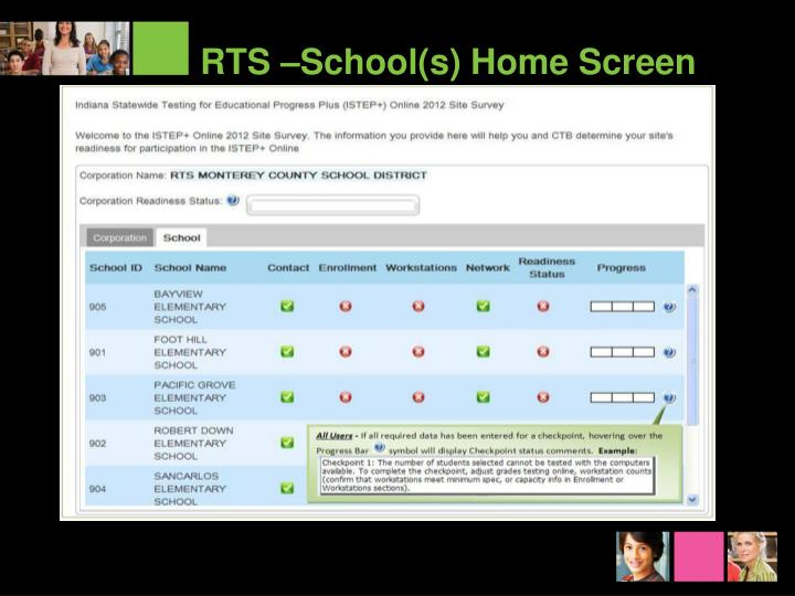 RTS –School(s) Home Screen