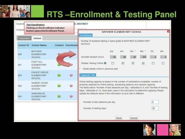 RTS –Enrollment & Testing Panel