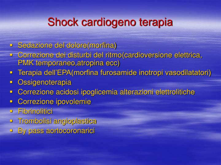Shock cardiogeno terapia