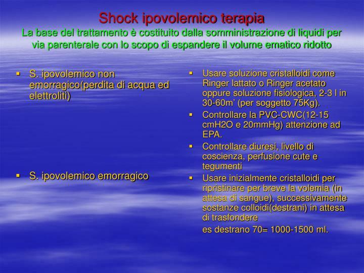 S. ipovolemico non emorragico(perdita di acqua ed elettroliti)