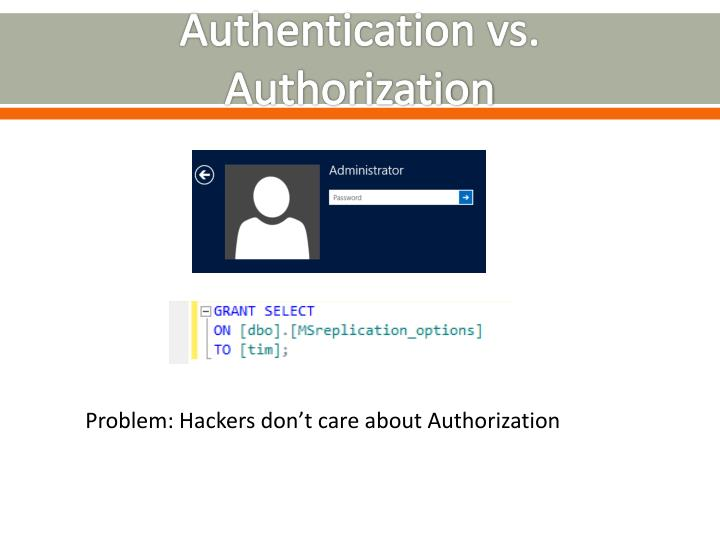 Authentication vs. Authorization