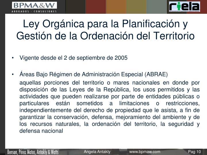 Ley Orgánica para la Planificación y Gestión de la Ordenación del Territorio