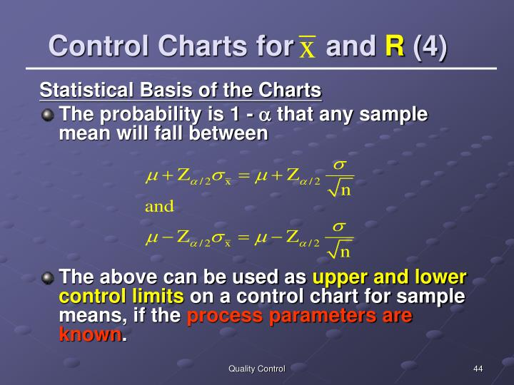Control Charts for    and
