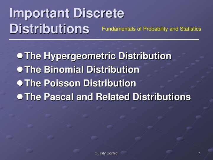 Important Discrete Distributions