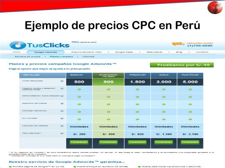 Ejemplo de precios CPC en Perú