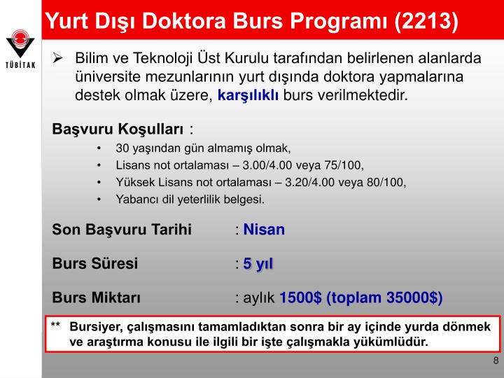 Yurt Dışı Doktora Burs Programı (2213)