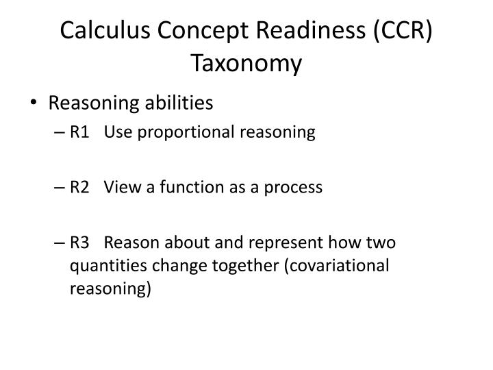 Calculus Concept Readiness (CCR)