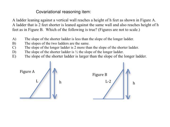 Covariational reasoning item: