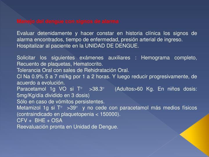 Manejo del dengue con signos de alarma