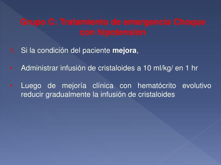 Grupo C: Tratamiento de emergencia Choque con hipotensión