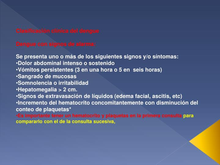 Clasificación clínica del dengue