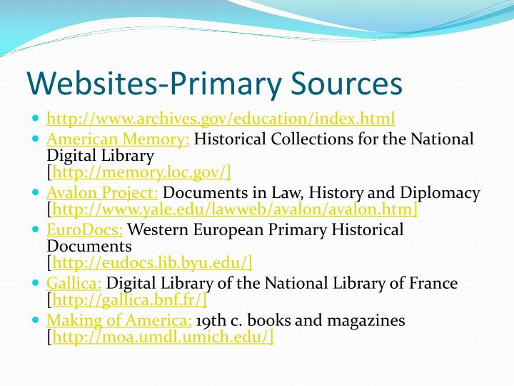 Websites-Primary Sources
