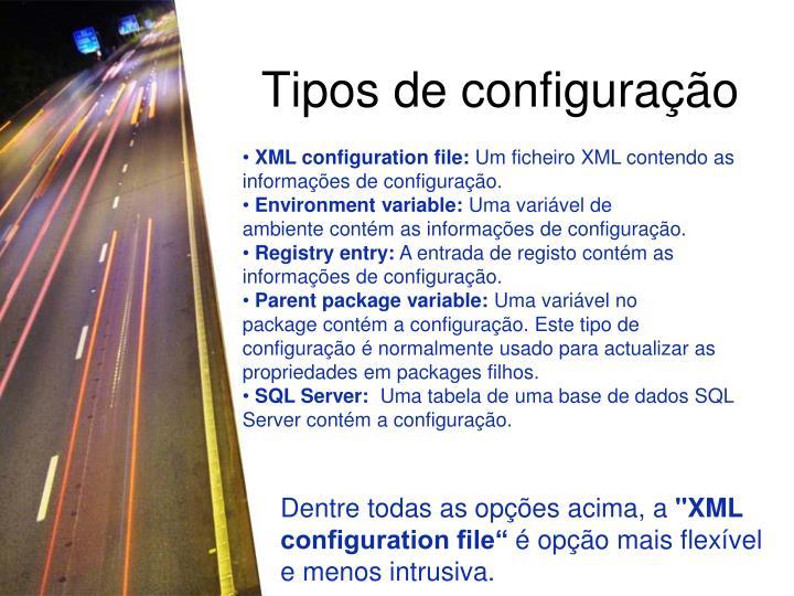 Tipos de configuração