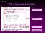 main quicksort routine