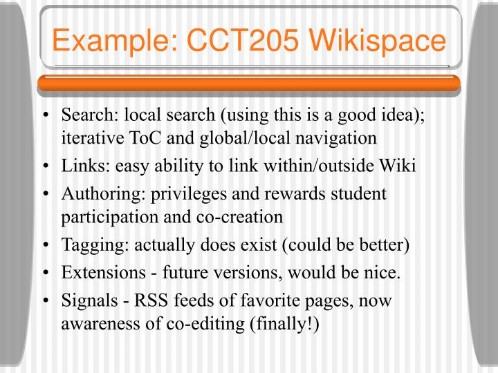 Example: CCT205 Wikispace