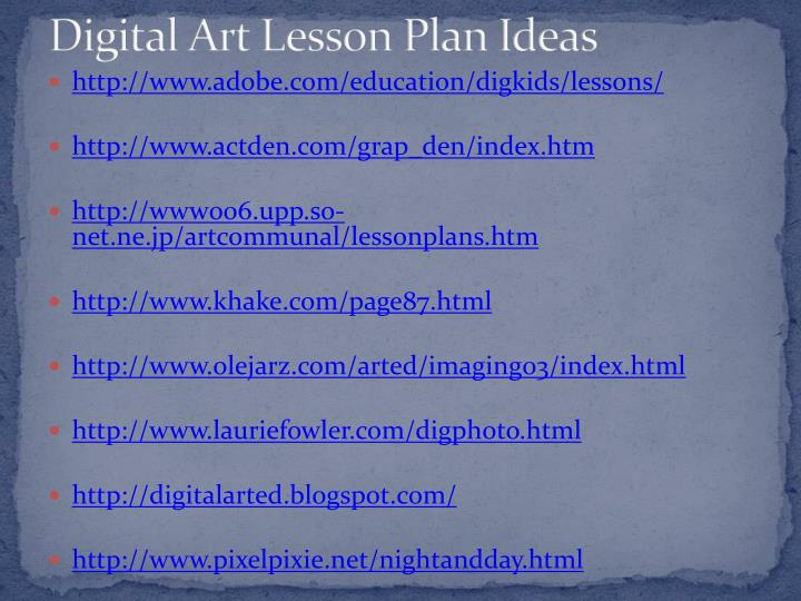 Digital Art Lesson Plan Ideas