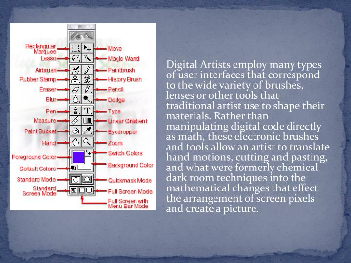 Digital Artists employ many types of user interfaces that correspond to the wide variety of brushes, lenses or other tools that traditional artist use to shape their materials. Rather than manipulating digital code directly as math, these electronic brushes and tools allow an artist to translate hand motions, cutting and pasting, and what were formerly chemical dark room techniques into the mathematical changes that effect the arrangement of screen pixels and create a picture.