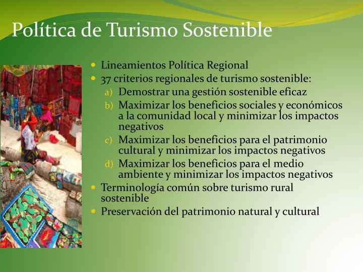 Política de Turismo Sostenible