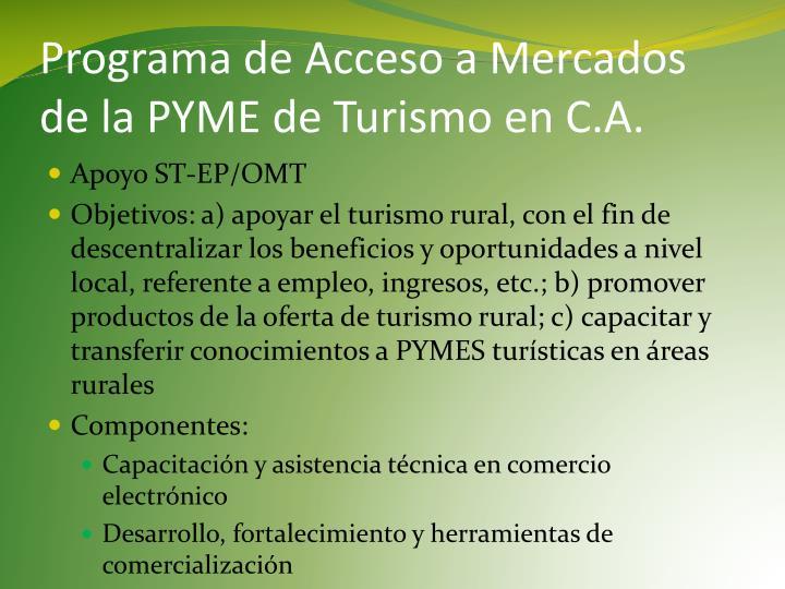 Programa de Acceso a Mercados de la PYME de Turismo en C.A.