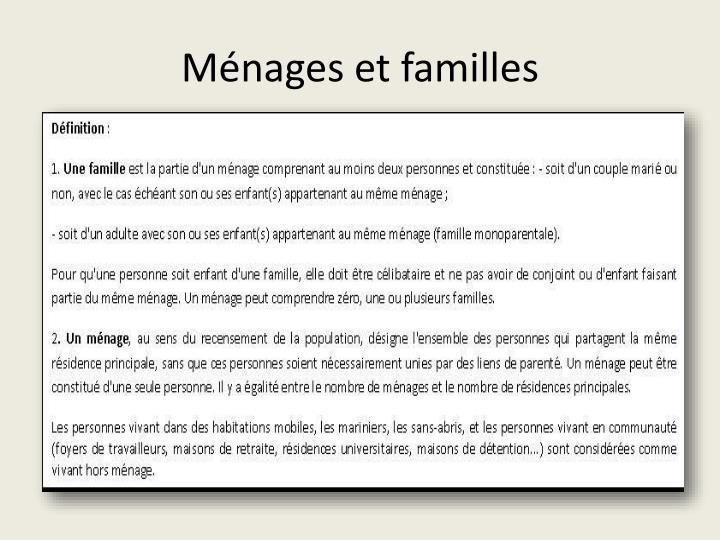 Ménages et familles