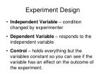 experiment design