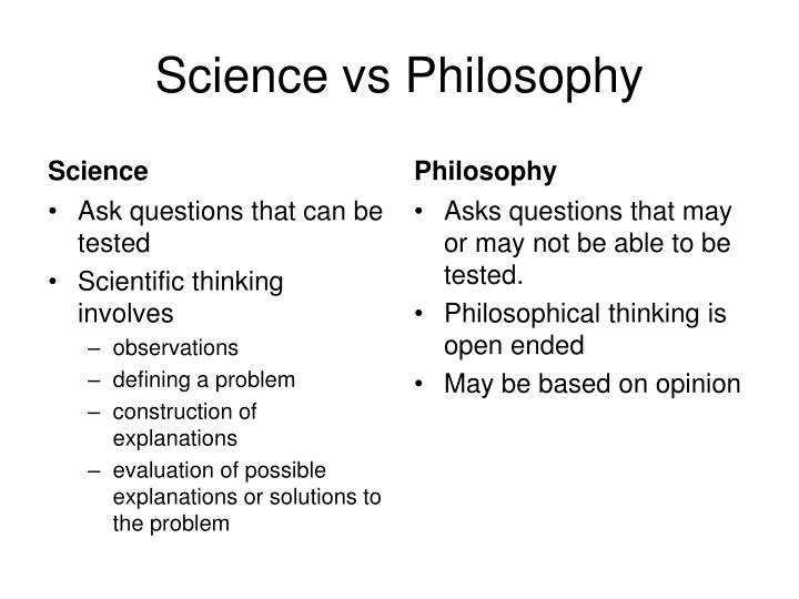 Science vs Philosophy
