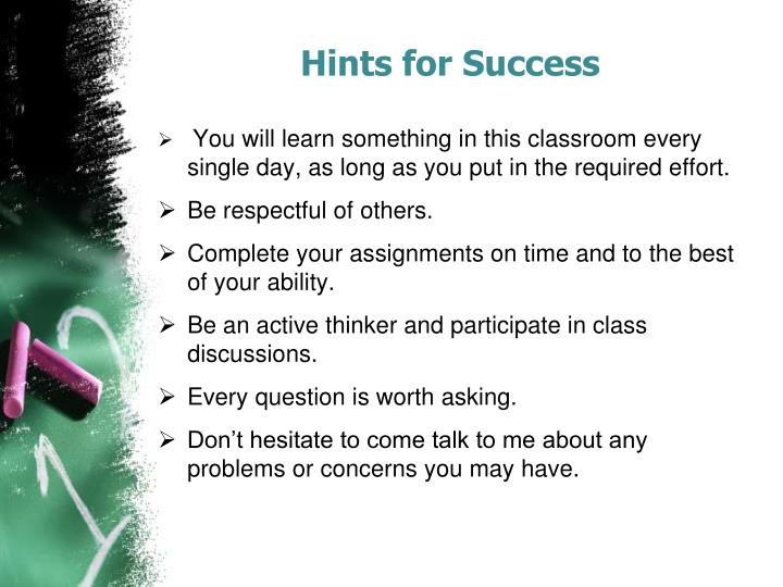 Hints for Success