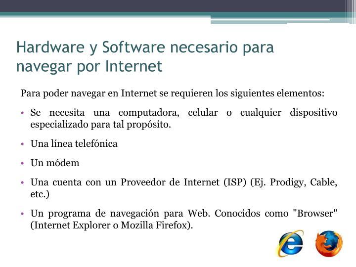Hardware y Software necesario para navegar por Internet
