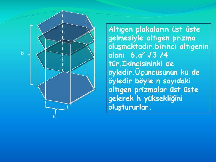 Altgen plakalarn st ste gelmesiyle altgen prizma olumaktadr.birinci altgenin alan  6.a
