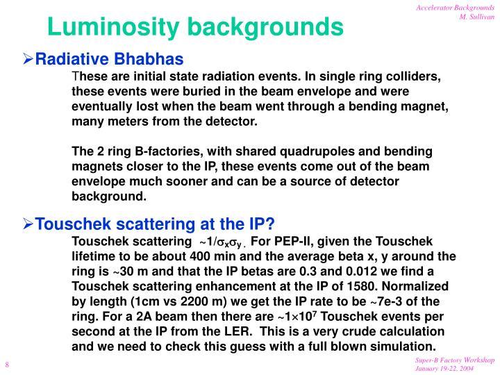 Luminosity backgrounds