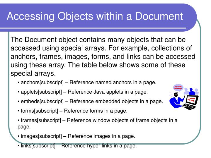 Accessing Objects within a Document