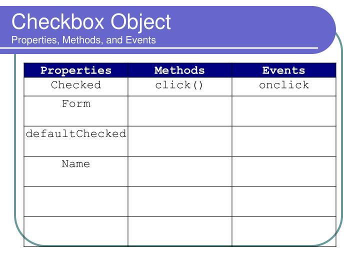 Checkbox Object