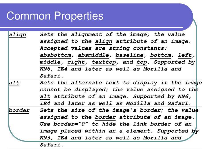Common Properties