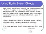 using radio button objects