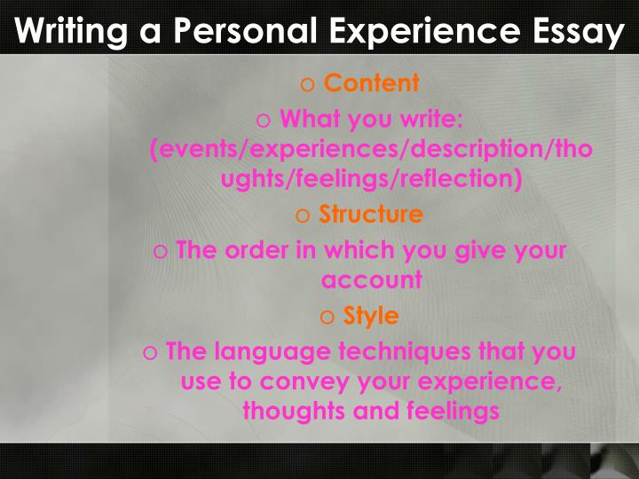 Writing a personal experience essay1