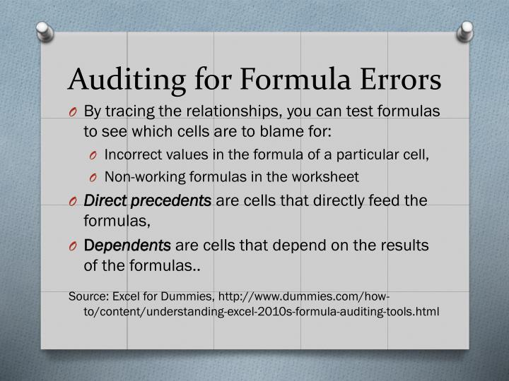 Auditing for Formula Errors